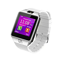 Smart Watch for Android Phones, SHONCO Bluetooth Smartwatch DZ09 Mobile Phone Watch with Pedometer HD Display Touch Screen Camera Long Battery Life-White