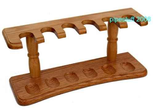 Real Oak 6 Pipe Tobacco Rack