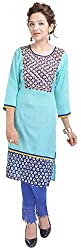 Geroo Women's Cotton Regular Fit Kurta (MKK-1532AZ, Blue, XL)