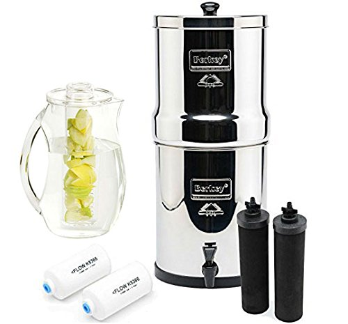 Berkey BK4X2-BB Big Berkey Stainless Steel Water Filtration System- 2 Black Filter Elements and 2 Pf2 with 92 oz. Infuser pitcher (Pitcher Water Filter System compare prices)