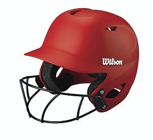 Wilson Collegiate 2.0 Fitting Batting Helmet with Softball Mask, Scarlet, XX-Large by Wilson