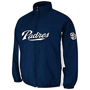 San Diego Padres Navy Authentic Double Climate On-Field Jacket by Majestic by Majestic