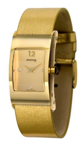 Moog Women's Watch Time to Change M41661-003 Analogue Quartz Golden Dial Moire Fabric Strap Golden