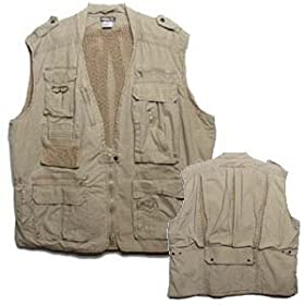 Safari Photo Vest Khaki Extra-Large (XL X-L X-Large)