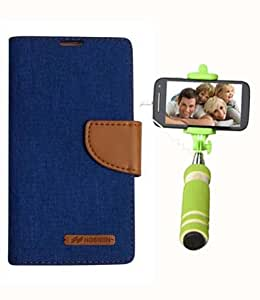 Aart Fancy Wallet Dairy Jeans Flip Case Cover for SamsungG530 (Blue) + Mini Fashionable Selfie Stick Compatible for all Mobiles Phones By Aart Store