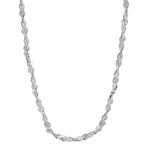 2 Mm 14K White Gold Layered Rhodium Nugget Link Chain - 20 Inch