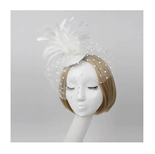 [FloYoung 2016 Wedding Party Fascinator Veil Net Hat with Feathers White] (White Top Hat Fascinator)