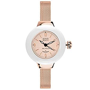 Glam Rock Miami Beach Art Deco collection MBD27189 36mm Stainless Steel Case Rose Gold Gold Plated Stainless Steel Mineral Women's Watch