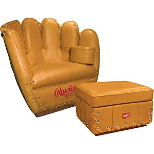 Rawlings Leather Glove Chair And Ottoman Combo , Tan  by Rawlings