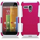 Aimo Wireless Progressive Hybrid Gummy Mesh Defense Case for Motorola Moto G - Retail Packaging - White/Hot Pink