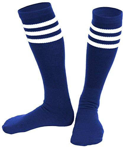 [Knee High Socks  Three Stripe Socks  Socks for Costumes  and Cosplay Made in USA, Royal / White, One] (Old School Basketball Halloween Costume)