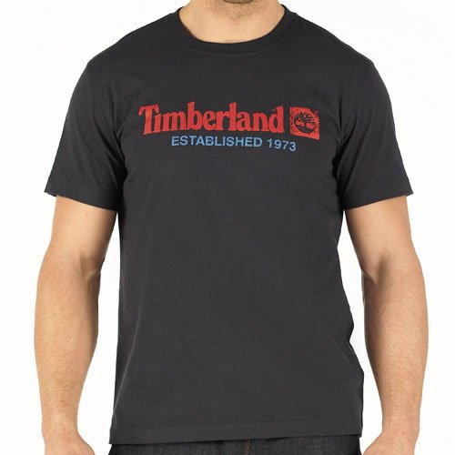 Timberland Mens Linear Front Graphic T-Shirt Navy Blue