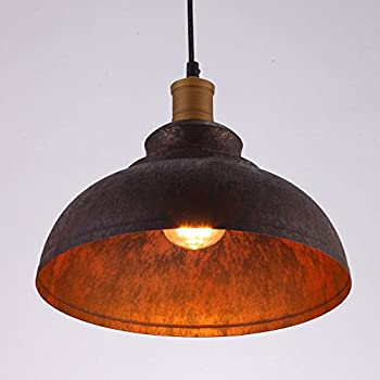 "BAYCHEER HL371892 Industrial Retro style Iron 11.8""Wide Antique Rust Loft Metal Fixture Pendant Lights Lamps with 1 Light, Brown"