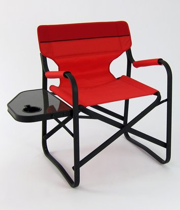 Designer's Aluminum Folding Deck Chair w/ Side Table (Red)