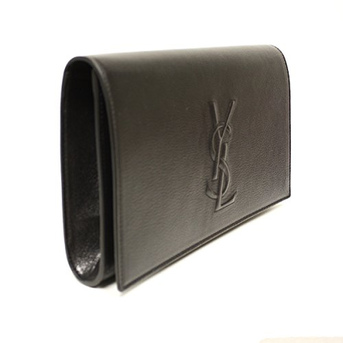 Yves Saint Laurent Yves Saint Laurent Ysl Belle De Jour Black Leather Large Clutch Bag