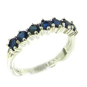 High Quality Solid Hallmarked Sterling Silver Natural Sapphire Eternity Ring - Size L 1/2 - Finger Sizes L to Z Available - Perfect Gift for Mum, Daughter, Grandaughter, Bridesmaids