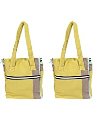 VS Exporrts Cotton 6 Liters Multi-Color Lunch Bag (Combo Of 2) - B01HZ1RFCM