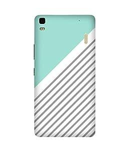 Aqua Grey Stripes Lenovo K3 Note Printed Back Cover
