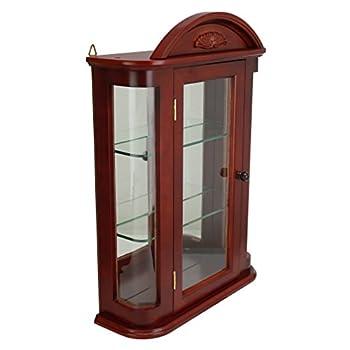 Design Toscano Rosedale Glass Wall Mounted Storage Curio Cabinet, 22 Inch, Hardwood, Mahogany