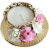 Kraftnation Pink & White Rose Decorative Diya/ Tea Light Holder