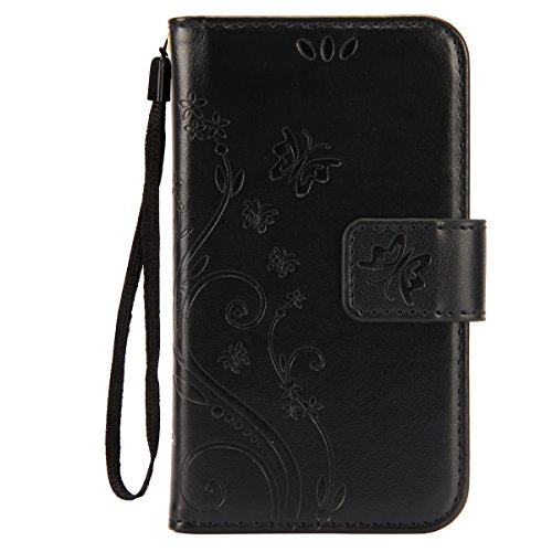 IKASEFU Pure Color Retro Butterfly Design Folio Leather Wallet Case Cover with Strap for Samsung Galaxy S3 Mini-Butterfly,Black (Folio Samsung S3 Mini compare prices)