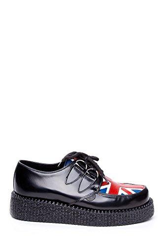 UNDERGROUND UNION BASSA scarpe Unisex in pelle, lacci, nero con bandiera inglese, misura 38