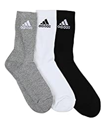 Adidas Flat Knit Crew Socks - Pack of 3(Grey/white/Black)