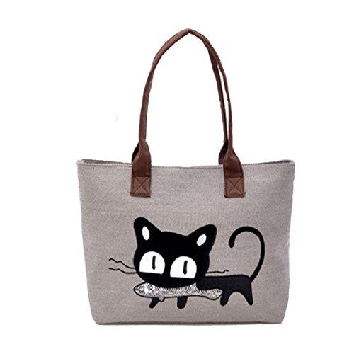 Sannysis® Moda Donna Borsa a tracolla Borsa della Cute Cat Bag Ufficio Lunch Bag (grigio)
