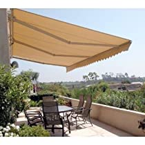 ALEKO® Retractable, Solid Beige Colored,Patio Awning 12ft X 10ft