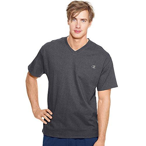 Champion Authentic Men's Jersey V-Neck T-Shirt_Granite Heather_S