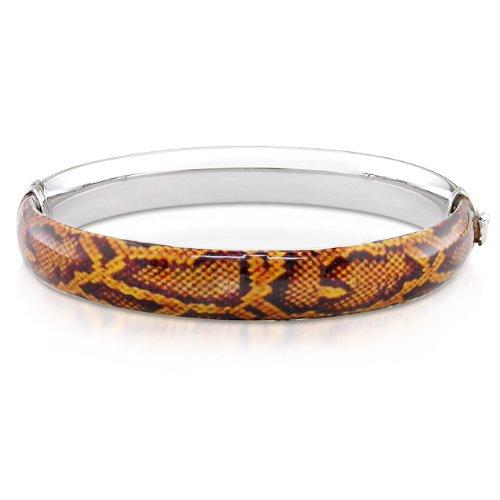 Sterling Silver Brown Snake Animal Painting Bangle Bracelet
