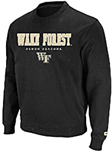 Wake Forest Demon Deacons Black Embroidered Varsity Crewneck Sweatshirt by Colosseum by Colosseum
