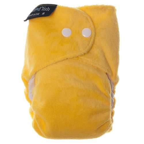 Itti Bitti d'Lish snap-in-one nappy, yellow, small (7.5-16.5lbs), minkee outer, microfibre, bamboo and organic cotton inner