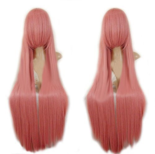 MapofBeauty Long Cosplay Party Pink Straight Wig 100cm