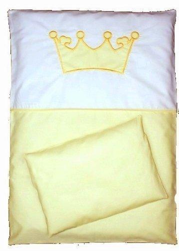 babymajawelt BABY BETTWÄSCHE SET KRONE 4tlg- 135/100 Bett Set VOILE fürs BABYBETT 140/70 cm (gelb)
