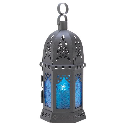 Gifts & Decor Ocean Blue Iron Glass Candle Holder Hanging Lantern