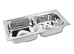 Gargson Kitchen Sink Double Bowl Stainless Steel Sink, Size 37 X 18 X 8 inches