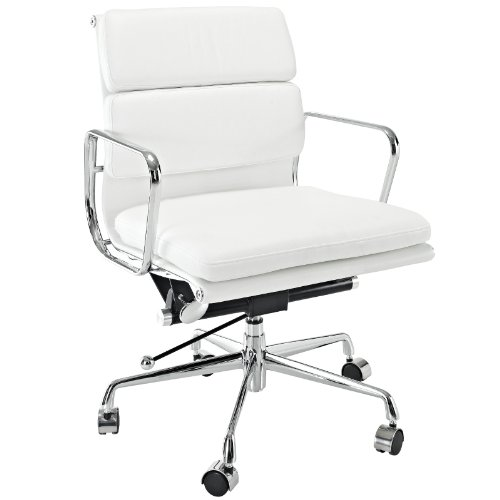 LexMod Discovery Mid Back Leather Conference Office Chair in White Genuine Leather