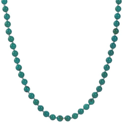 Sterling Silver Stabilized Turquoise 6mm Knotted Necklace, 24