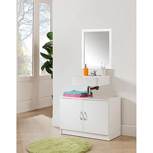 Meuble salle de bain 2 portes 80x40cm corps blanc fa ades - Meuble salle de bain amazon ...
