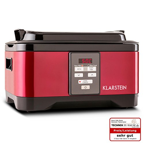 Tastemaker Sous Vide Garer Vakuumgarer zum Niedrigtemperaturgaren (6 Liter Gareinsatz, 550 Watt, Edelstahl, 1 - 24 Stunden Timer, 40-90°C Bereich in 1°C-Schritten einstellbar) rot