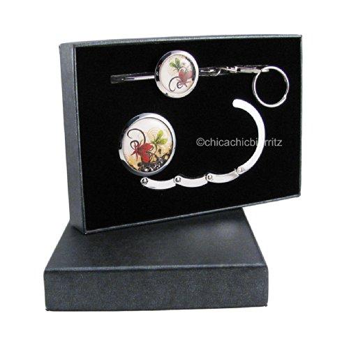 Confezione regalo - Appendi borsa + portachiavi per borsa - Modello Papillons Volutes