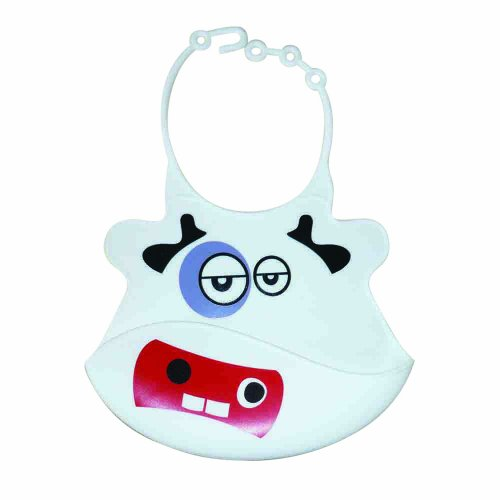 Adjustable Silicone Baby Bib - Packed in Nice Gift Box - This BPA Free Rubber Bib Is Very Stylish and Environmentally Friendly and Can Safely Be Washed in the Dishwasher. It Protects Baby's Clothes and Is Very Easy to Clean. (White Cow)