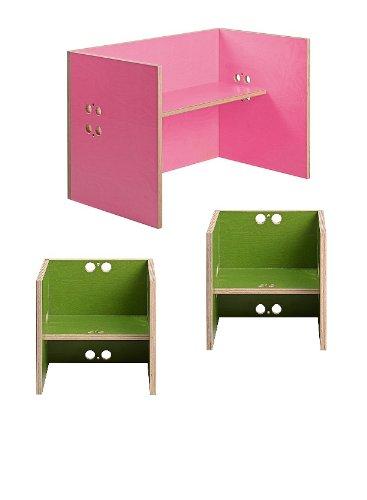 Kindersitzgruppe – Kindermöbel – 2 Kinderstühle / Hocker + 1 Kindertisch / Bank. Tisch pink, Farbe Stühle frei wählbar. (Stühle / Hocker grün, Tisch / Bank pink)