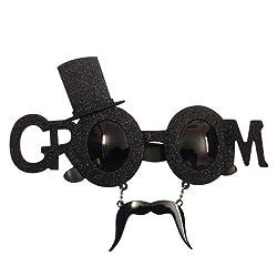 Funcart Groom Sunglasses with Mustache Glitter Finish