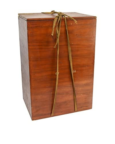 Vintage Wooden Box with Beautiful Rope, Brown