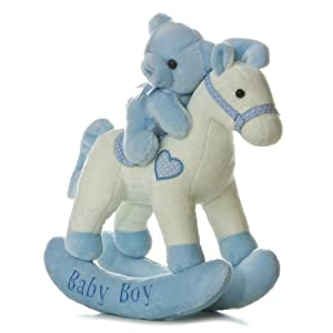 Aurora Baby Plush Rocking Horse, Blue/White