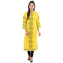 Kaash Women 's Straight Kurta_VRIEA03_3XL_Yellow