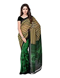 Ethnic Wear Green & Brown Dani Printed Saree