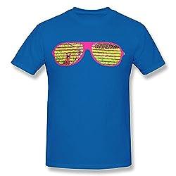 MA2M Cute Glasses Grass Dog Men T Shirt RoyalBlue